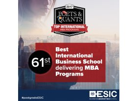 Poets and Quants International MBA programs ranking 2017 recognizes ESIC as one of the best International business schools
